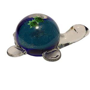 Glass Turtle Wildlife Figurine Paperweight